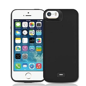 Fey-EU Funda Batería para iPhone 5 5S SE, 4000mAh Ultra Delgada Portátil Externa Recargable Batería Carga Caso Protector para iPhone 5 5S 5C SE, Negro