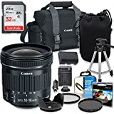 Professional Accessory Kit with Canon EF-S 10-18mm f/4.5-5.6 IS STM Lens & Canon 300-DG Shoulder Bag + SanDisk 32GB Class 10 Memory + Bundle Package for Canon EOS 77D, 80D, 7D Mark II Cameras