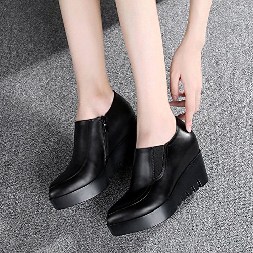 Heel Mid Solid On Black Casual Slip Toe Low Top Pumps Elastic Pointed Wedge CHFSO Womens Platform E4wSxvqS7