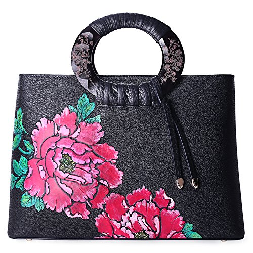 Pifuren Floral Handbags and Purses Flower Women Soft Leather Totes Bag for Women (H76016H, Black/Red) by PIFUREN