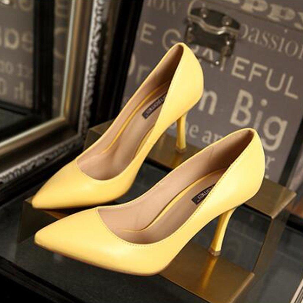Ren Chang Jia Shi Pin Firm Verano femenino inclinado tacones altos ayuda  sexy bien con solo zapatos zapatos de trabajo elegantes tacones de cuero  (Color ... c58302f092a6