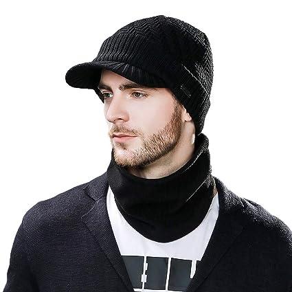 36557f1b2997e Men Women 50% Wool Knit Beanie Visor Cap Winter Hat Fleece Neck Scarf Set  Ski