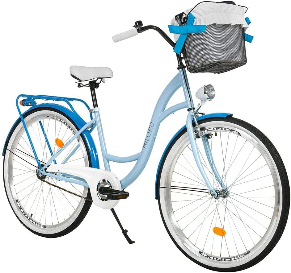 28 Zoll 3-Gang Hellblau Komfort Fahrrad mit Korb Hollandrad Damenfahrrad Citybike Cityrad Retro Vintage Milord