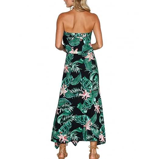 Vestidos Mujer Verano Elegante de Maxi Vestir sin Mangas de para Playa Fiesta, Estampado Floral Fuera del Hombro Cordón Moda Sexy Casual para Cóctel Evening ...