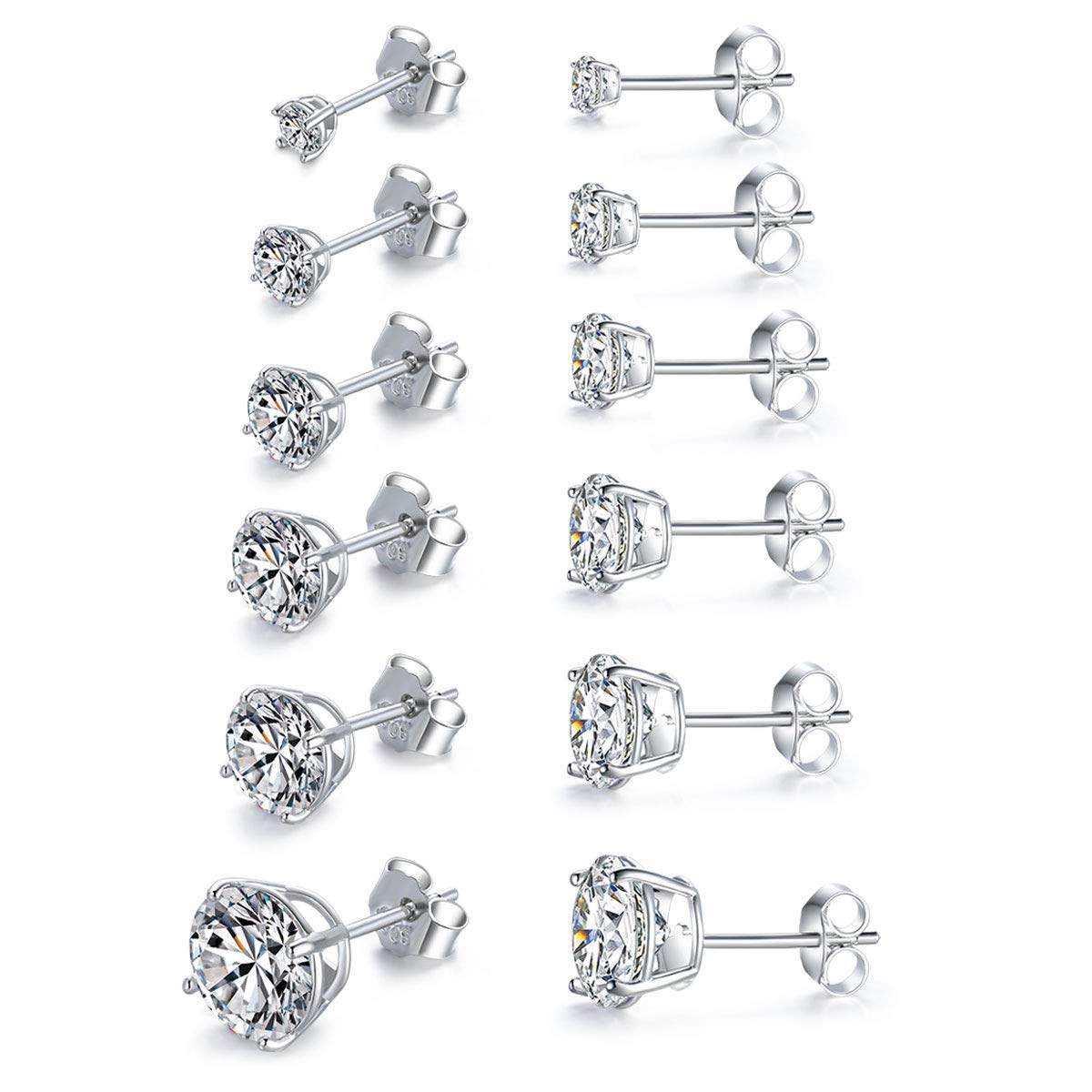 MASOP Sterling Silver Round Clear Cubic Zirconia CZ Stud Earrings Set White Crystal for Men Women 6 Pairs (3mm-8mm)