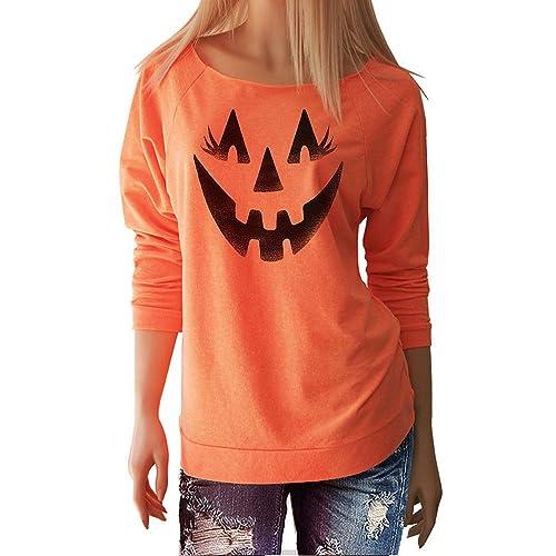 VENMO Halloween mujeres sonrisa de calabaza de manga larga blusa Tops camisa de naranja casual camis...