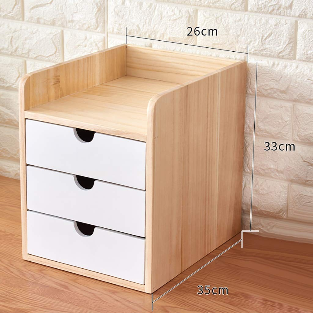 A4 Desktop File Cabinet Data Cabinet Drawer File Storage Cabinet File Box Office Supplies Portable and Tidy Storage Box-Wooden (Color : 3) by QSJY File Cabinets