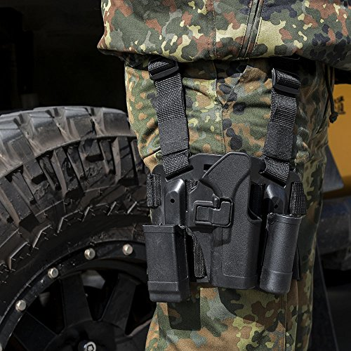 AGPtEK® Quick Release Tactical Right Hand Paddle & Leg Belt Drop Leg Holster with Magazine and Flashlight Pouch for Glock 17/22/31 - Black