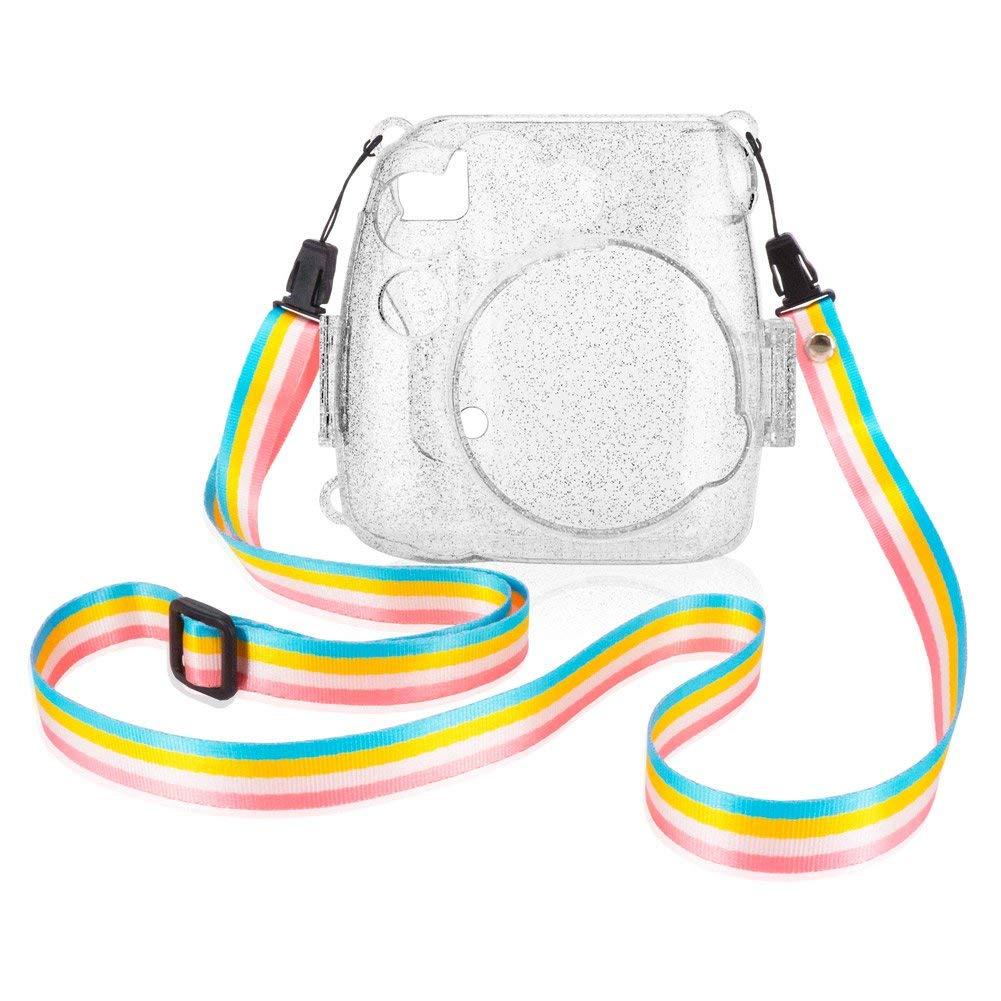 Mini 9 Macchina fotografica istantanea con cinghia colorata smontabile Anter Crystal Instax Mini 8 Custodia in PVC per Fujifilm Instax Mini 8 Mini 8 Trasparente A