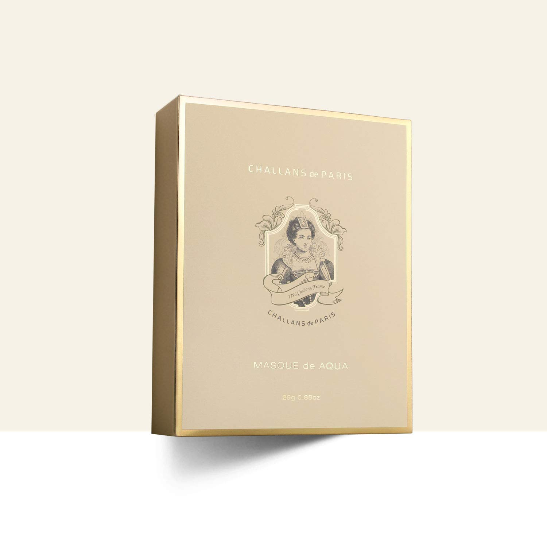 CHALLANS de PARIS MASQUE de AQUA PREMIUM (Box of 10 Sheet Masks) | Skin Recovery and Care Sheet Masks for Dry and Oily Skin Types | Moisturizing, K-Beauty, Korean Face Mask