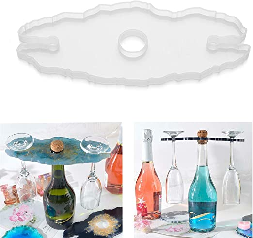 Silicone Clear Resin Casting Mold Wine Glass Holder Cup Coaster Epoxy Mould DIY