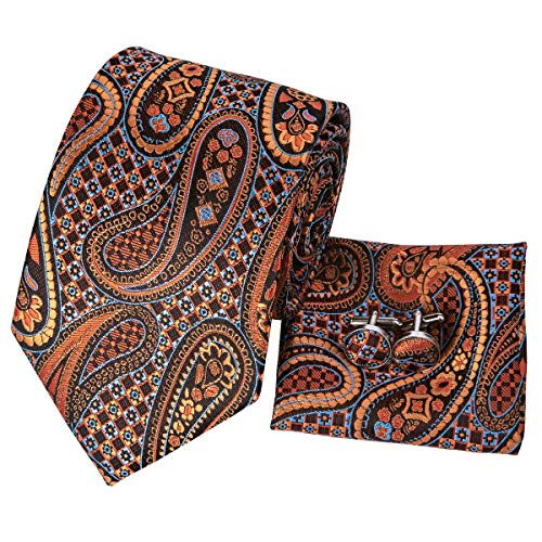 CAOFENVOO Paisley Brown Ties for Men Silk Tie Handkerchief Cufflinks ()
