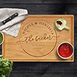 P Lab Personalized Cutting Board, Custom Engraved Cutting Board with Juice Drip Groove, Christmas Gift, Wedding Gift, Anniversary Gift, Housewarming Gift (11'' x 17'' x 1'') Cherry Large Rectangular #A