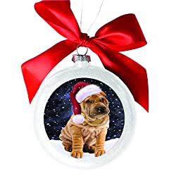 Let it Snow Christmas Holiday Shar Pei Dog White Round Ball Christmas Ornament WBSOR48712
