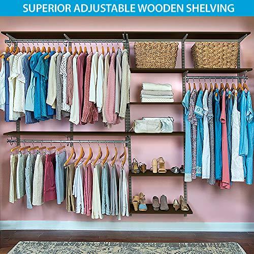 "Organized Living freedomRail Basic Adjustable Closet Organizer Kit, 96""- 100"",Chocolate Pear"