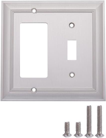 Amazon Basics Toggle And Gang Light Switch Wall Plate Satin Nickel 2 Pack Amazon Com