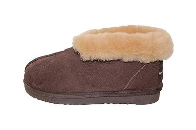 899adc1bb Furfurmouton Genuine Australian Sheepskin Slippers Booties Men's Super  Thick Premium Sheepskin Slipper Brown Size: Large