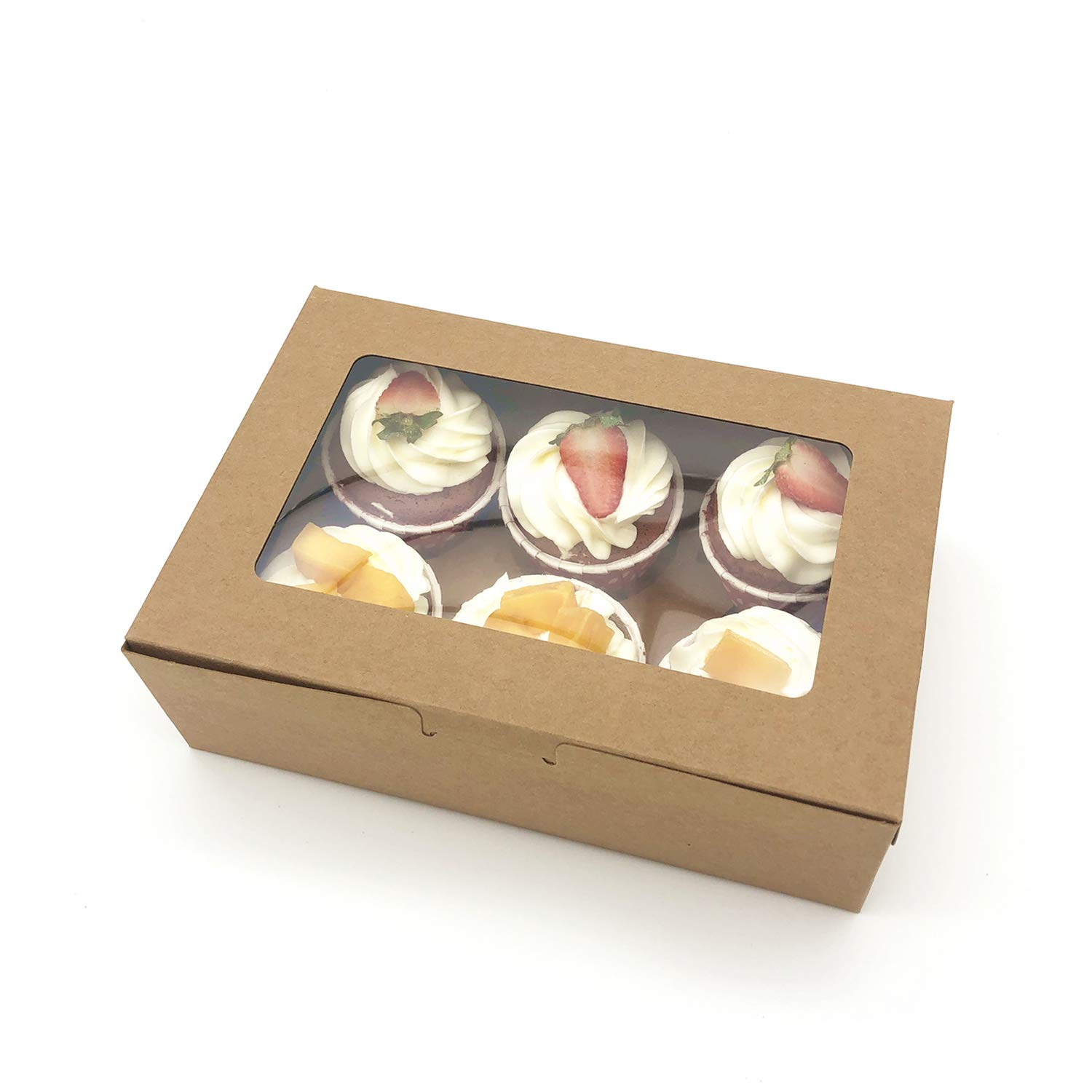 30-Set Cupcake Boxes with Inserts and Window Fits 6 Cupcakes, 9.4'' x 6.3'' x 3'', Brown Food Grade Kraft Cookie Gift Boxes, Treat Boxes for Cookies, Bakeries, Muffins and Pastries by Aglahome (Image #7)