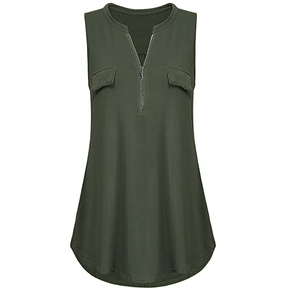 Women Blouses and Tops Fashion 2019 Summer Solid Button Pockets V Neck Tank Tops Vest Blouse Green