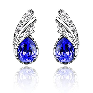 2bd44c2e3 Senfai Fashion Austria Crystal Water Drop Leaves Earrings Necklace Jewelry  Sets Classic Wedding Dress (blue
