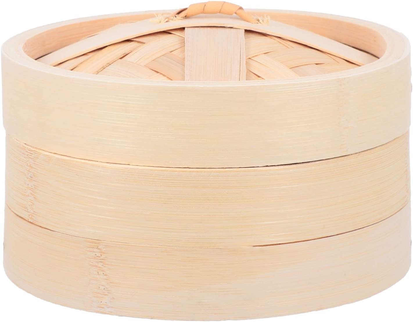 DOITOOL Wooden Food Steamer Basket Bamboo Dumpling Steamer Bao Bun Chinese Food Steamers with Lid for Rice Vegetables Meat Fish