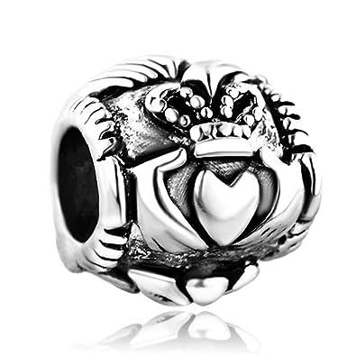 cc0840ce1343b Pugster Silver Plated Irish Claddagh Friendship & Love Bead Fits Pandora  Charms Bracelet