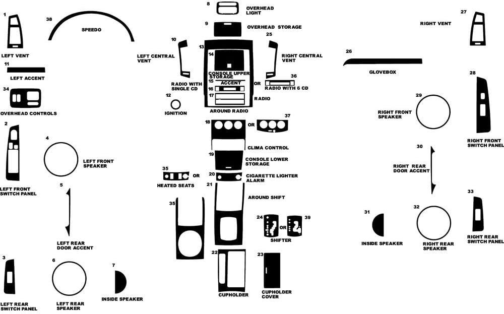 Rvinyl Rdash Dash Kit Decal Trim for Nissan Altima 2005-2006 - Carbon Fiber 4D (Black)