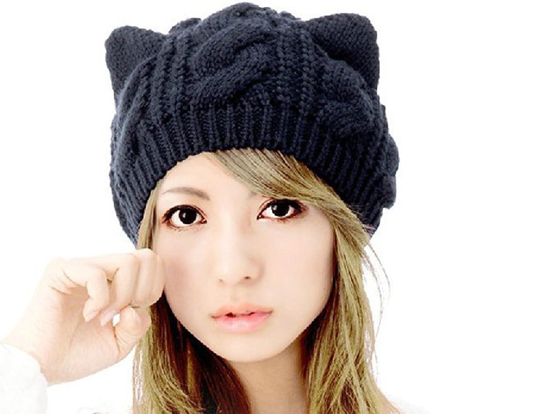 Demarkt Katze Ohren Geformt Damen Mädchen Häkeln Stricken Ski Hut