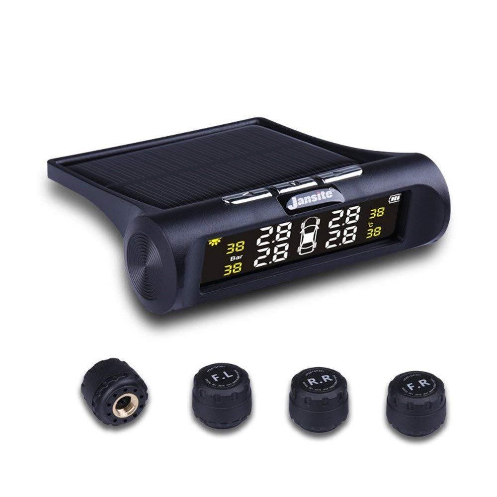 Jansite TPMS Système de surveillance de pression de pneu solaire, écran LCD sans fil universel, 4pcs étanche capteurs externes en temps réel de détection de température de pression de pneu Auto Alarme de s&ea