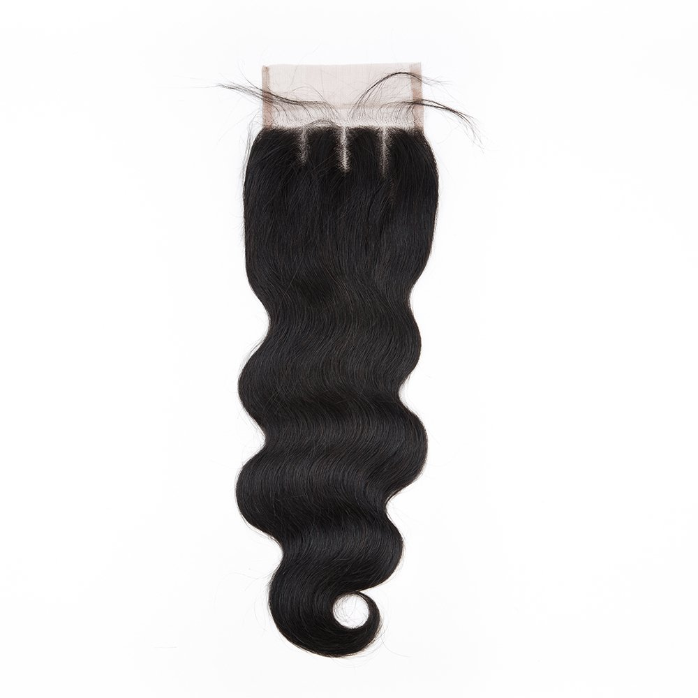 Sedittyhair Brazilian Lace Closure Human Hair Body Wave Closure 4x4 Three Part Top Closure Bleached Knots With Baby Hair - 12 inches