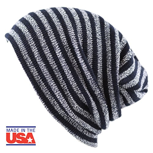 The Hat Depot Fashion Junior Youth Unisex Soft Warm Stripe Knit Beanie Winter Hat MADE IN USA - Hat Knit Youth