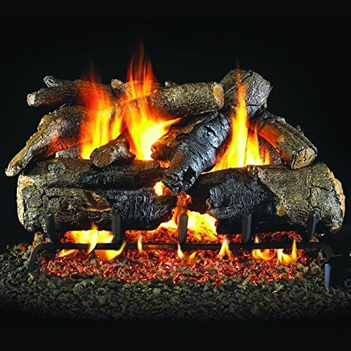 Peterson Real Fyre 30-inch Charred American Oak with Vented Natural Gas G31 Triple-Tier Burner - Electronic Variable Remote ()
