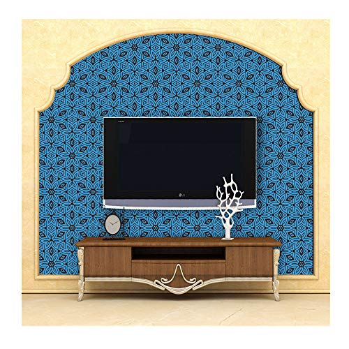 (Blue Moroccan Style Wall Stickers,Self Adhesive Tile Wood Grain Style Floor Sticker DIY Tile Wall Sticker Decal,For Kitchen Bathroom Living Room Floor (Blue))