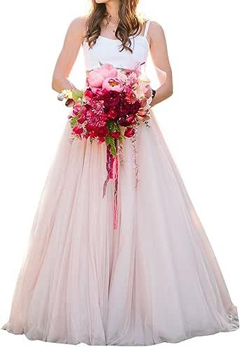 Boda Lady de la mujer a-line Blush Rosa novia boda Falda de tul ...