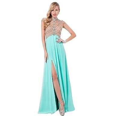 fcbda7cdbd9 Terani Couture Chiffon Illusion Formal Dress Green 0 at Amazon Women s  Clothing store