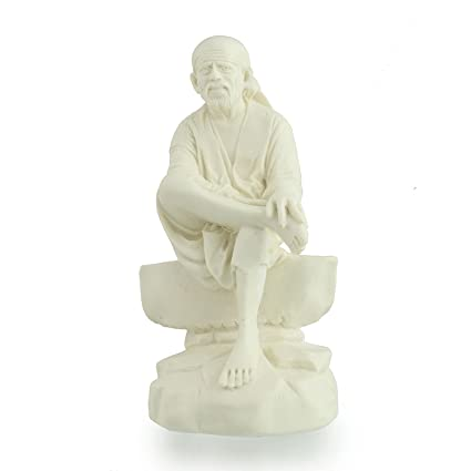 Divine Gifts Sai Baba Idols For Car Dashboard | Saibaba Statue White For Home Decor