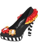 Womens Multi Color Pumps Red Orange Black White Shoe Flower Skulls 4 Inch Heels