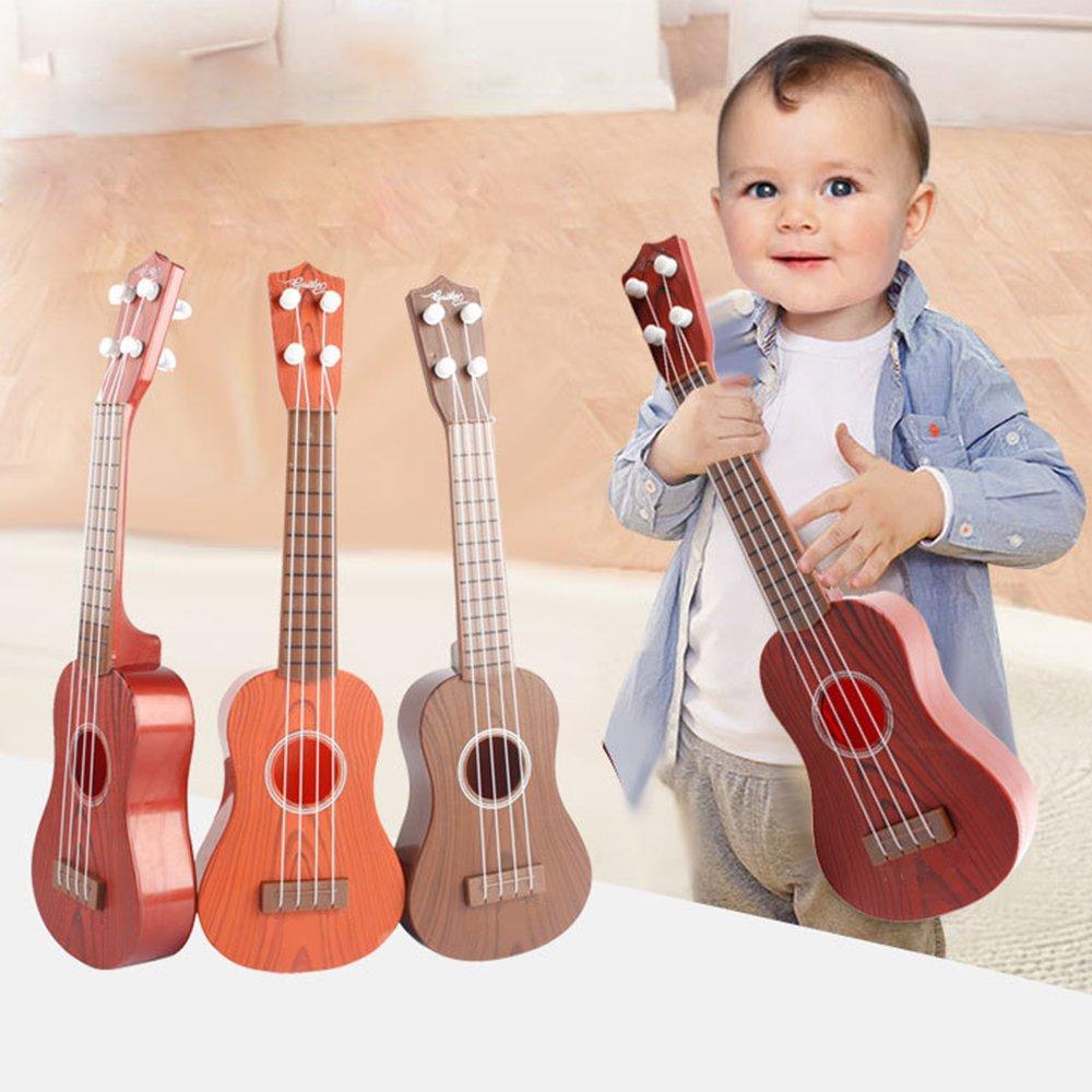 lulalula Kids Guitar Toy, 4 Strings Simulation Mini Guitar Children Educational Musical Instrument Toy Gift for Kids Preschool Boys Girls, 36cm - Random Color