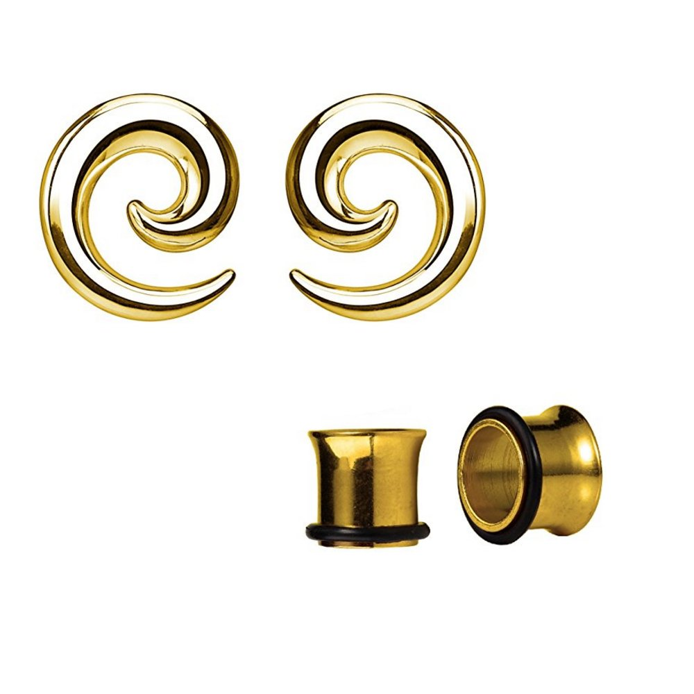BodyJewelryOnline Spiral Ear Tapers & Plugs (8GA-00GA) Gold IP Stainless Steel 2pairs TSPRH1-GLD-2PR-00GA