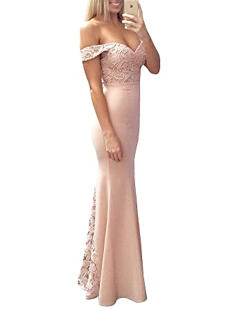 Hego Womens Apricot Off Shoulder Lace Gown Prom Dress BH5322 - Orange -