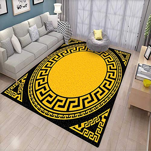 - Greek Key Extra Large Area Rug Sun Inspired Big Circle with Antique Fret and Triangular Ornaments Bath Mat for tub Charcoal Grey Marigold