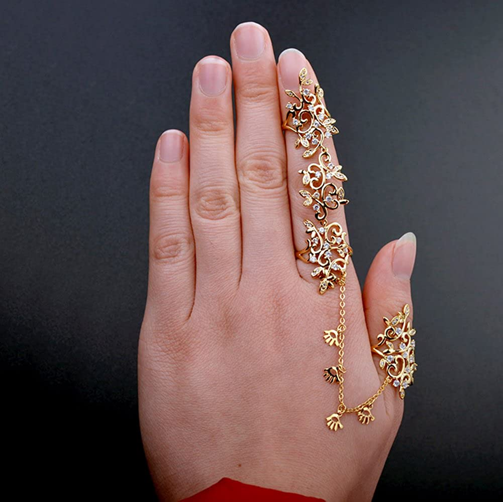 Star Jewelry European Style Fashion Personality Siamese Hollow with Austrian Crystal Knuckle Ring R006
