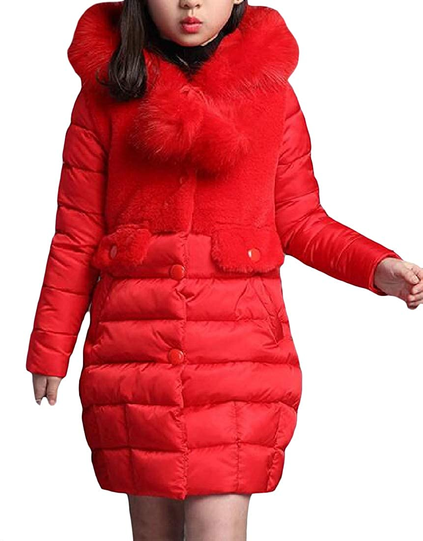 Cromoncent Big Girls' Winter Thicken Faux Fur Collar Button Down Parkas Coats Jacket