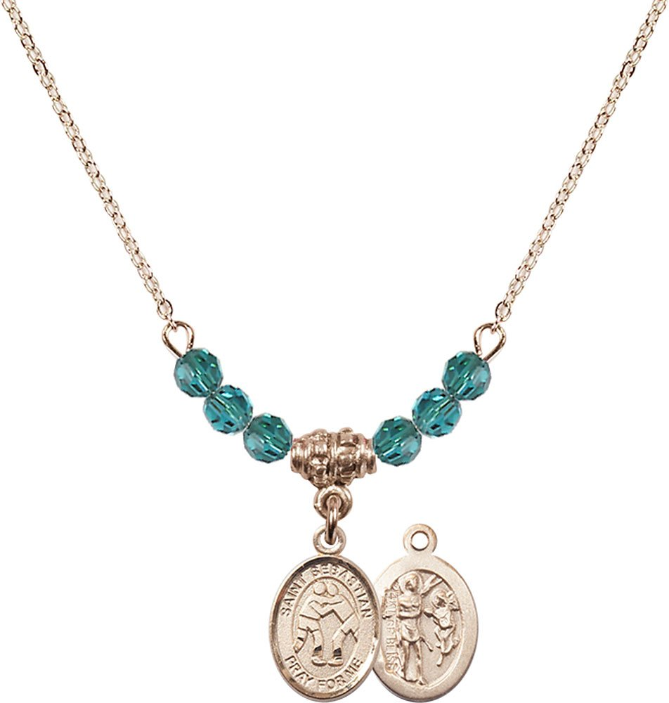 18-Inch Hamilton Gold Plated Necklace with 4mm Zircon Birthstone Beads and Gold Filled Saint Sebastian/Wrestling Charm. by F A Dumont