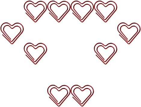 TOYMYTOY Love Heart Shaped Paper Clips Note Photo Sign Clips Bookmark Clips Stationery Office Accessories,100pcs Red