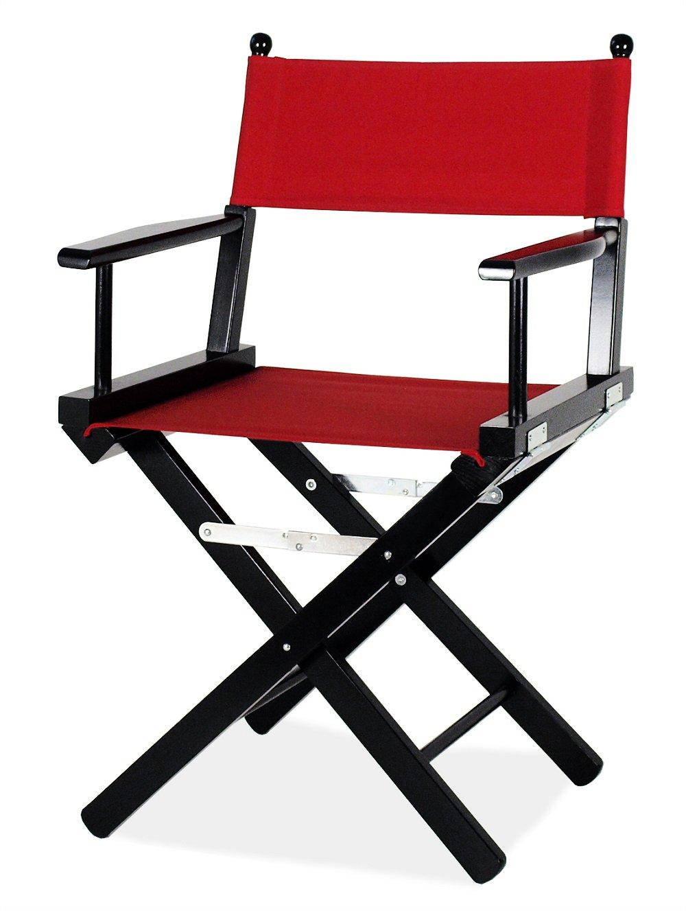 ArredaSì Sedia da regista nera con tessuto rosso - Regista P in legno