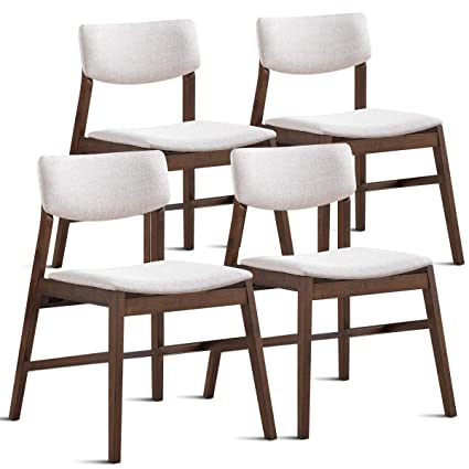 Giantex Modern Dining Side Chairs Set of 4 Fabric Cushion Side Chairs with  Wood Legs for Living Room, Dining Room, Kitchen, Bedroom Side Chairs ...