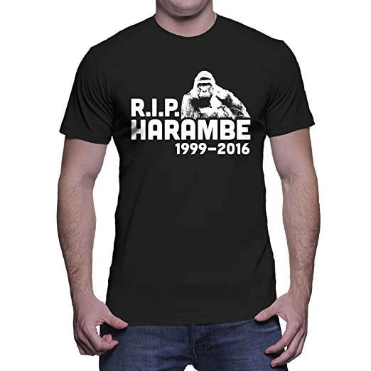 e44f15c33 Amazon.com: HAASE UNLIMITED Men's RIP Harambe 1999-2016 T-Shirt ...