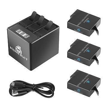 GoPro Hero 5/6/7 1500 mah Baterías de Repuesto (Paquete de 3 ...