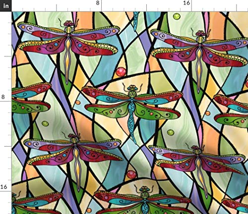 Dragonflies Fabric - Colorful Art Deco Dragonfly On Stained Glass Windows Insects Red Blue Tiffany Print on Fabric by The Yard - Basketweave Cotton Canvas for Upholstery Home Decor Bottomweight